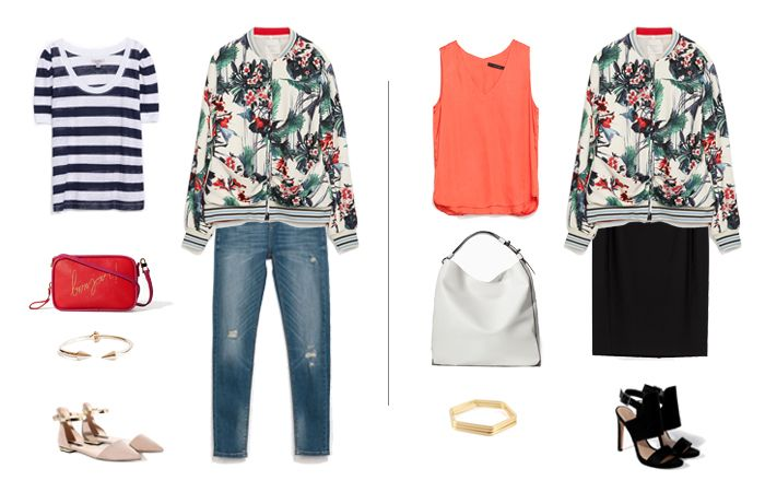How to Wear a Floral Bomber | A trendy bomber, styled for work and play.