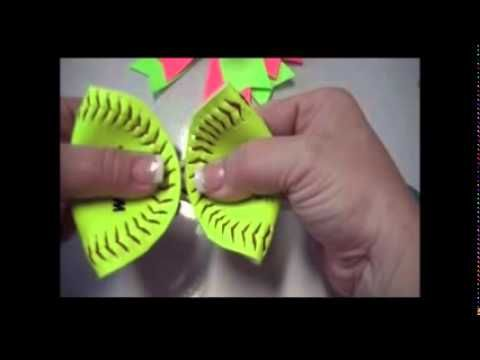 ▶ How to Make a Hair Bow out of a REAL softball! - YouTube