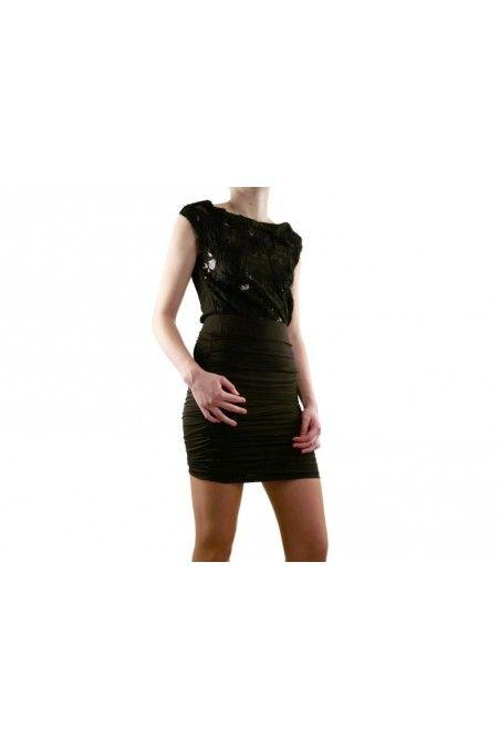 Robe LUCY PARIS Femme  Couleur(s) noir  Composition 95 Polyester - 5 spandex  col rond, Motifs, Sequin  plis décoratifs, Fermeture à zip
