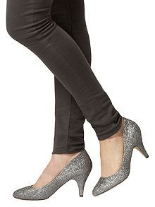 Glitter Round Toe Court Shoes