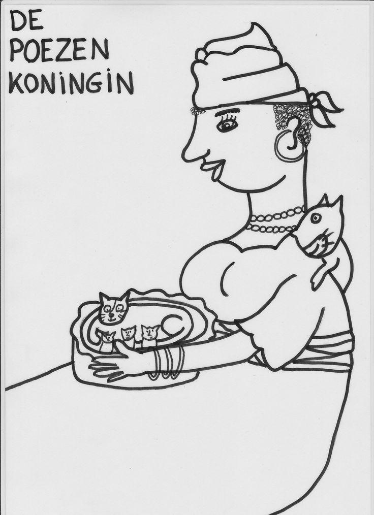 zwart wit prent: poezenkoningin (de knuffelkoningin)