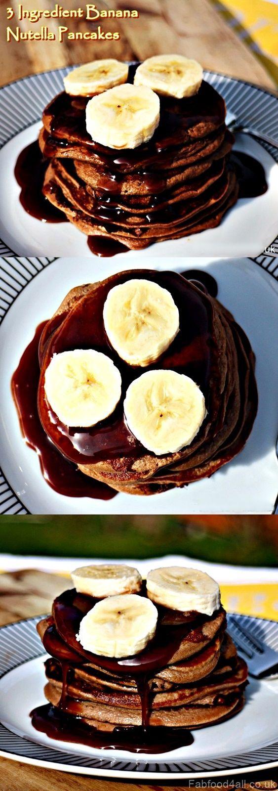 3 Ingredient Banana Nutella Pancakes #Glutenfree - Fab Food 4 All