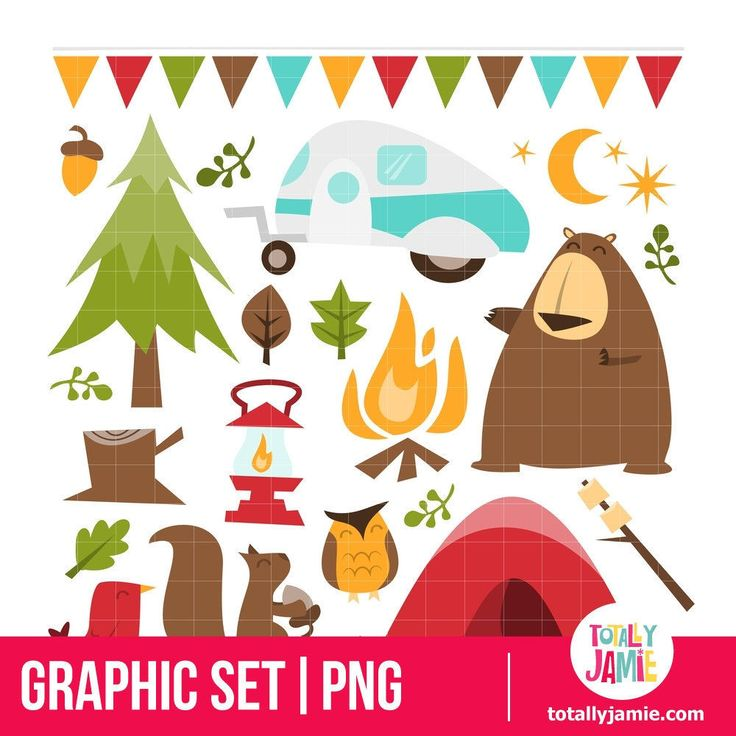 Retro Camping theme PNG Set/ Instant Download by totallyjamie on Etsy