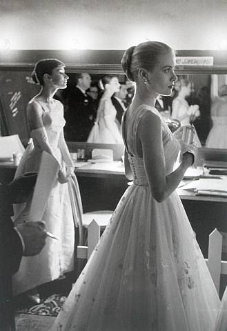 Audrey Hepburn and Grace Kelly backstage at the 1956 Academy Awards,taken by Allan Grant for Time and Life Pictures