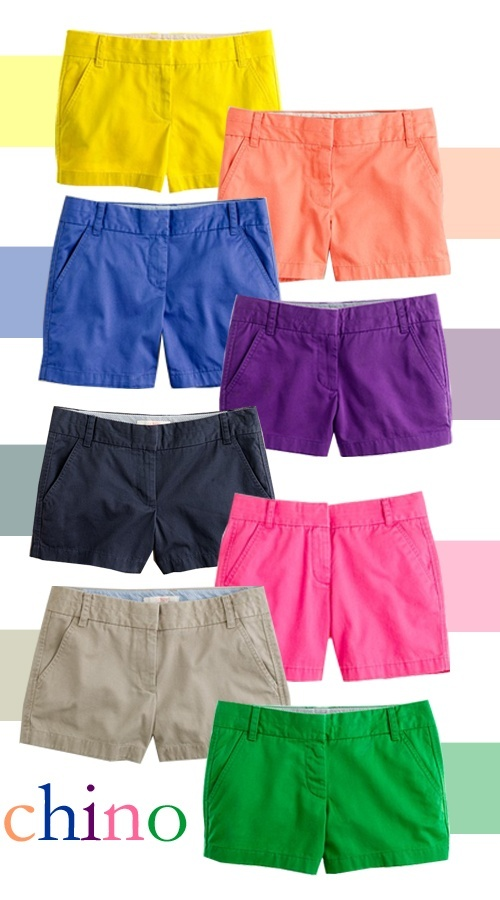 Love j. crew chino shorts.They come in so many different lengths and colors. The best place to buy j.crew apparel for a good deal is J.Crew Factory  http://factory.jcrew.com/index.jsp
