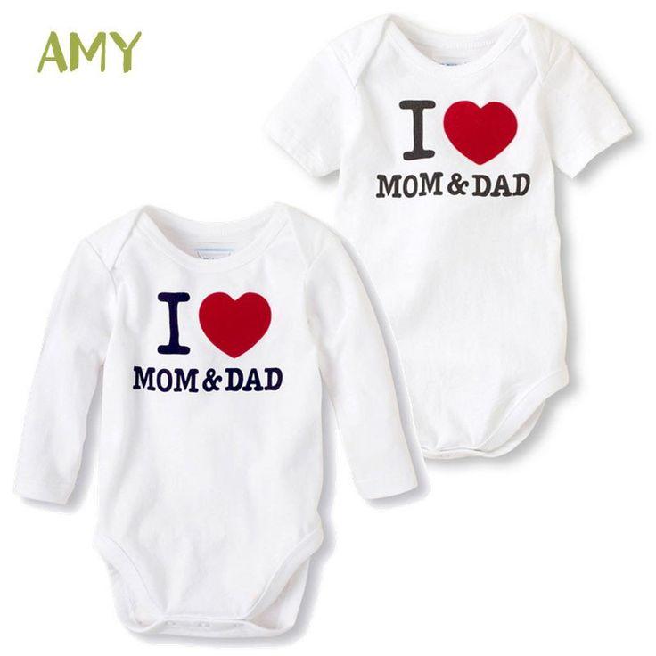 Newborn Baby I Love Mom Dad Cotton Romper – twinzzzz