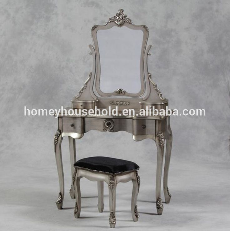French Antique Silver Cream Dressing Table & Stool