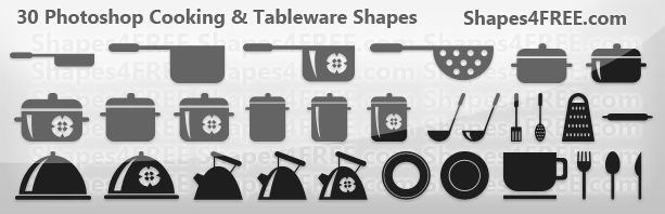 Free Shapes:  30 Cookware and Tableware Photoshop Shapes (CSH)