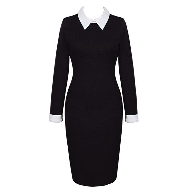 Black Contrast Collar Long Sleeve Midi Bodycon Dress (205 VEF) ❤ liked on Polyvore featuring dresses, long black dress, bodycon dress, black spandex dress, long dresses and mid calf dresses