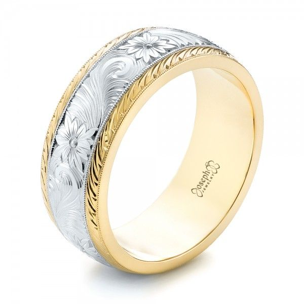 Custom Two-Tone Hand Engraved Men's Band | Joseph Jewelry | Bellevue | Seattle | Designers of Fine Custom Jewelry