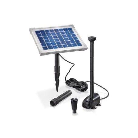 Plug-and-play vijverpomp systeem. De pomp begint te sproeien zodra er zonlicht valt op het zonnepaneel. Geschikt voor je kleine vijver vanaf 1 m³ tot en met 2 m³ water.
