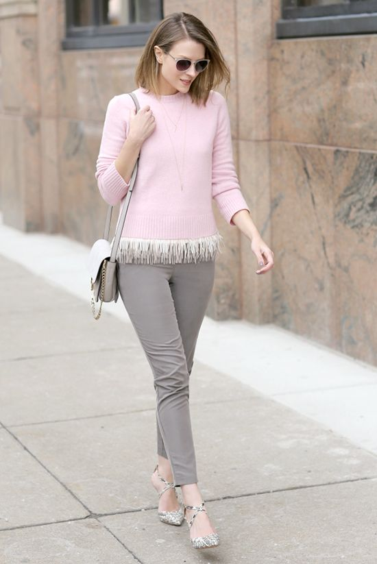 spring / summer - fall / winter street style - street chic style - spring outfits - fall outfits - casual outfits - pale pink sweater + white fringe hem top + grey skinny pants + grey snake print heels + grey shoulder bag + clear sunglasses