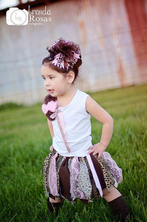 Fabric Scrap Tutu Skirt Pink and Brown Shabby Chic