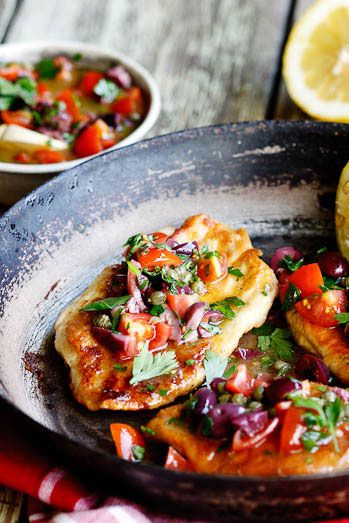 Chicken Escalopes with Olive, Caper & Tomato dressing | Simply Delicious