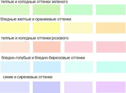 палитра цветов для интерьера пастельные цвета
