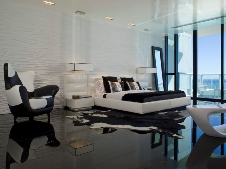 Black and white bedroom decor