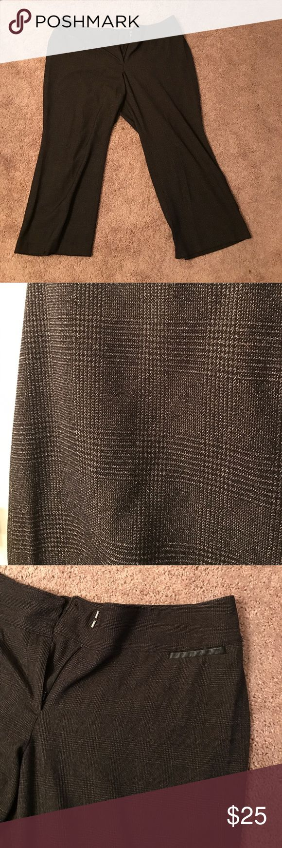 Lane Bryant - Dark brown printed slacks A very nice pair of dark brown slacks from Lane Bryant. They have a cool plaid-like print on them. Has two small pockets in the front, mainly for decoration. In good used condition. Size: 24Petite. Lane Bryant Pants Trousers