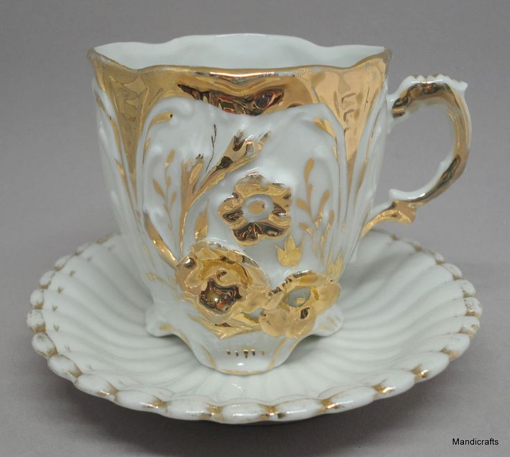 #GermanPorcelain Victorian #Teacup Saucer Set White Gold Raised Floral 2.75in Vtg #Victorian Unknown