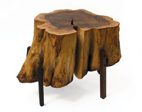 log furniture. Interesting coffee table from a stump.