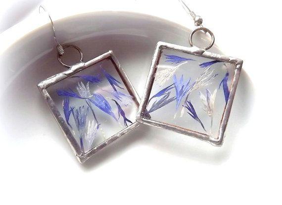 Jewellery. Earrings. Earrings with cornflowers. by AcoyaJewellery