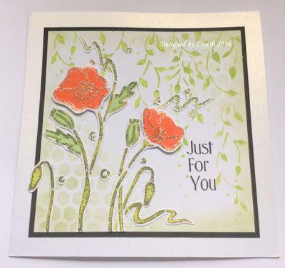 Handmade card by Lisa B. Imagination Crafts Poppy stencils, Stencil paint, Sparkle Medium.