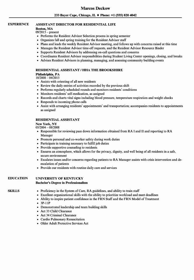 Resident assistant Job Description Resume Luxury