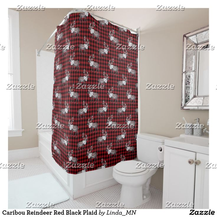 Caribou Reindeer Red Black Plaid Shower Curtain