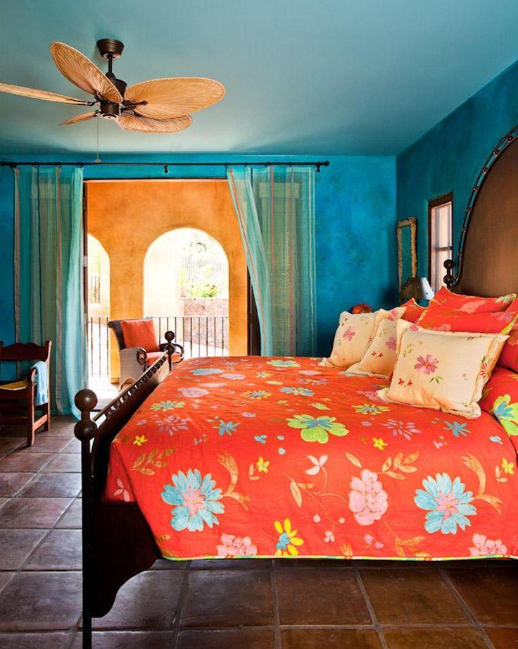 Blue patina walls in bedroom