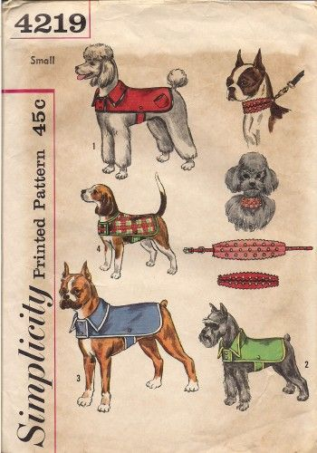 Vintage dog coat pattern! So adorable!  I would totally frame this and use as wall art