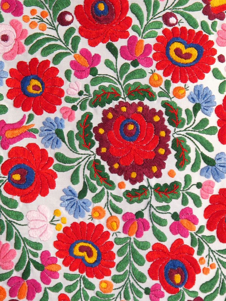 Matyó embroidery. The folk art of the Roman Catholic Matyó community in and around the town of Mezőkövesd in north-eastern Hungary is characterized by floral motifs that are found in flat-stitch embroidery and ornamented objects. Read more: http://www.unesco.org/culture/ich/RL/00633