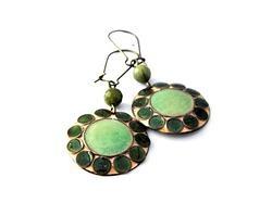 Enamel earrings - Green by Boroka Halasz http://www.h-art.com.au/#!product/prd1/628695171/enamel-earrings---green-