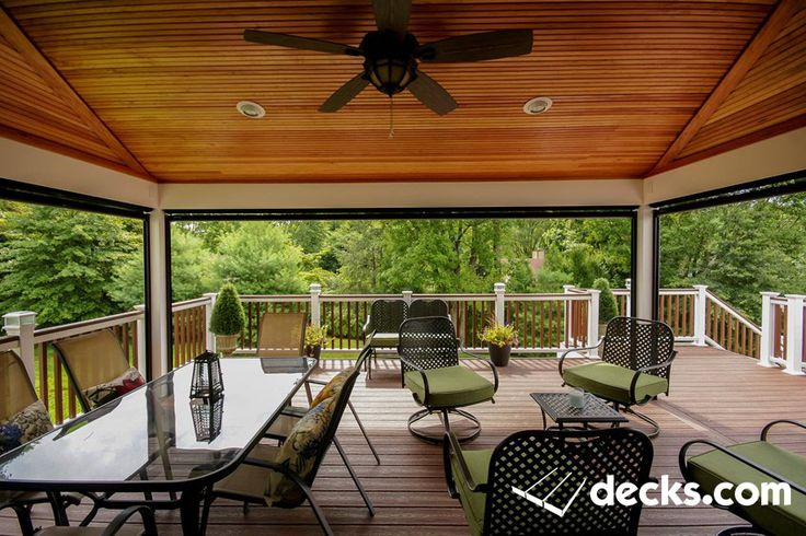 This porch has a motorized screen on 3 sides. When not needed it becomes a pavilion. Next to the porch an outdoor kitchen with a pergola with blinds for privacy from the neighbors. Below a enclosed storage is created with an open area for a feature hot tub