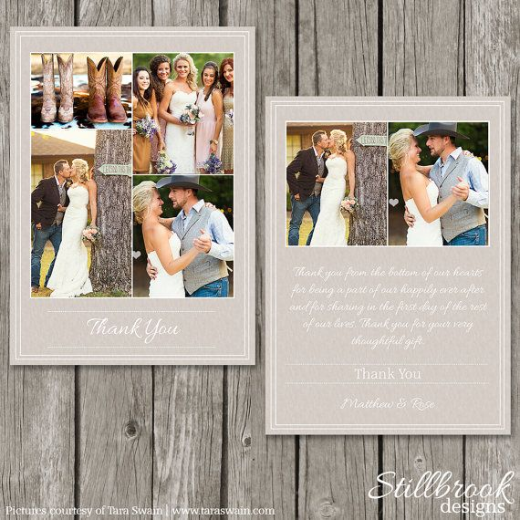 Wedding Thank You Card Template - Personalized Photo Thank You Note - Thank Yous Notecard - TY01