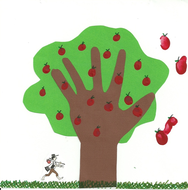 Apple Tree using hand print and finger prints. Great after apple farm craft!