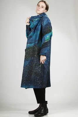 Issey Miyake | long wide overcoat in heavy cotton and polyester with hand-finished 'universe' print | #isseymiyake