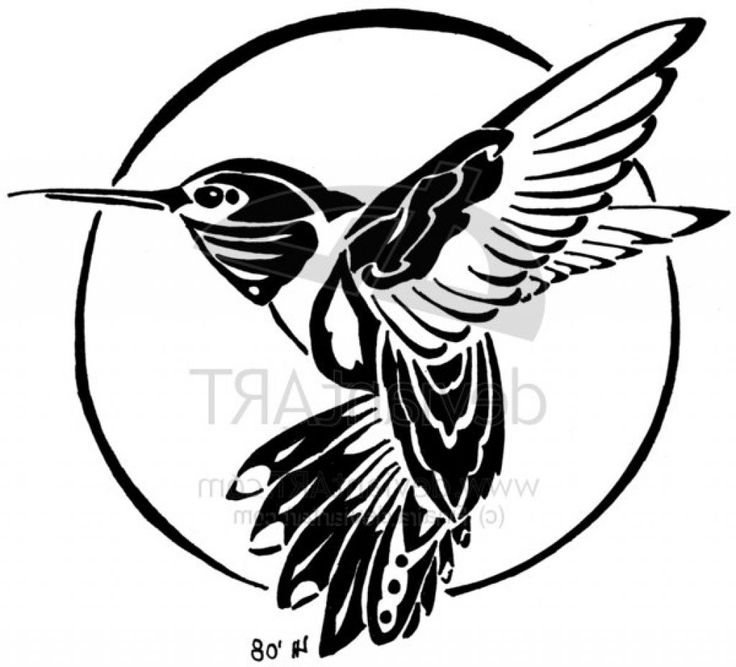 Black Flying Hummingbird Tattoo Stencil