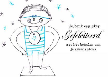 Dboon ontwerp op Kaartje2go zwemdiploma kaart kinderkaart Uniek acryl inkt Dboon ontwerp
