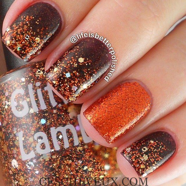 Gliters nails pour l'automne                                                                                                                                                                                 Plus