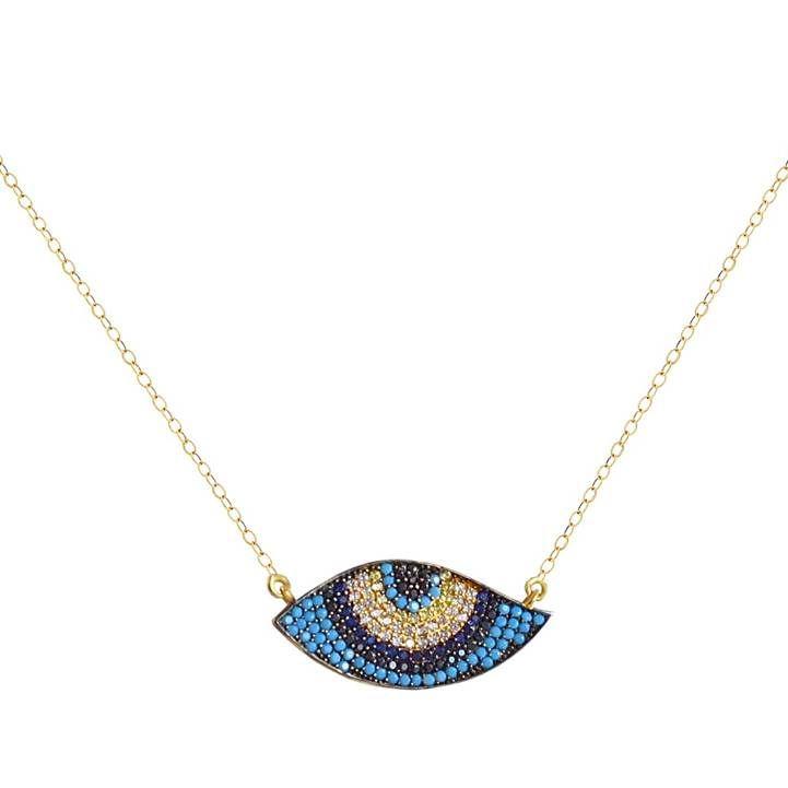 ΕΠ46 Χρυσό κολιέ μάτι με πολύχρωμες πέτρες