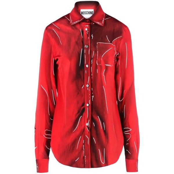 Moschino Long Sleeve Shirt (86480 RSD) ❤ liked on Polyvore featuring tops, red, shirt tops, moschino shirt, moschino, red top and long sleeve tops
