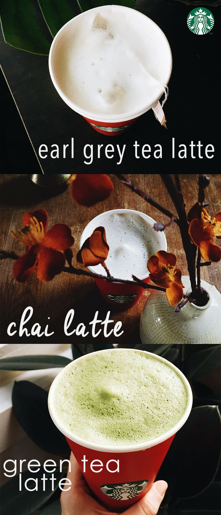 We have three tea lattes year-round: Earl Grey Latte, Chai Tea Latte, and Green Tea Latte. They're made just like our classic lattes, but instead of espresso, we use tea.