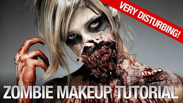 Zombie Makeup Tutorial: using latex + kleenex + a blow dryer + a broken plastic spoon + makeup + imagination  TUTORIAL: https://www.youtube.com/watch?v=CN8899eqays