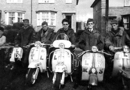 Mods on scooters in Birmingham, 1964.
