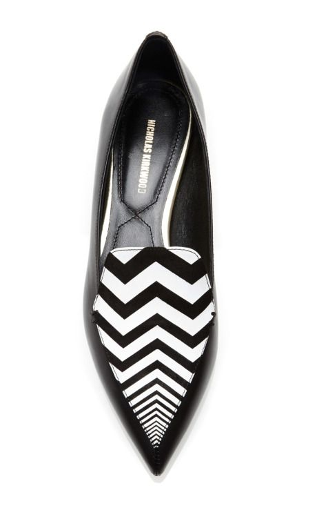 Chevron Striped Leather Loafers by Nicholas Kirkwood - Moda Operandi