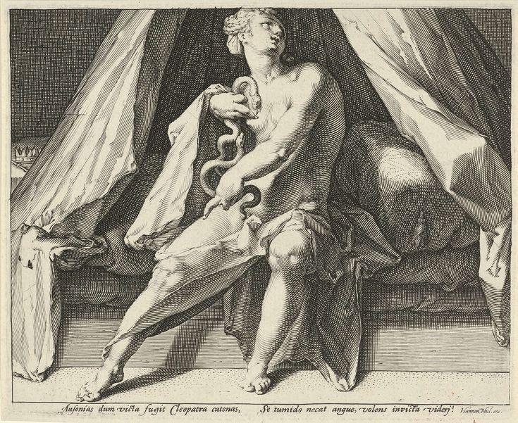 Jan Harmensz. Muller | Dood van Cleopatra, Jan Harmensz. Muller, 1590 - 1594 | Cleopatra pleegt zelfmoord door zich door een cobra te laten bijten. Ze zit naakt op haar bed. Rechts van het bed haar kroon en scepter.