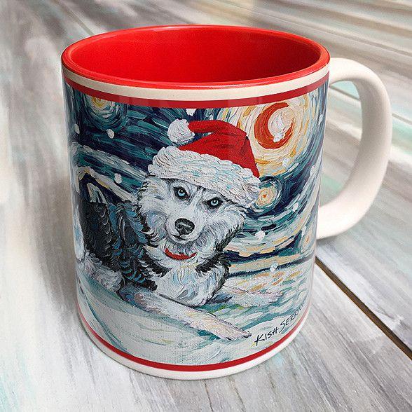 Siberian Husky Holiday Starry Night Mug