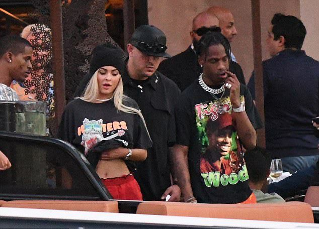 Travis Scott Seen With Kylie Jenner Wearing Tiger Woods T-Shirt, Rokit Camo Pants And Air Jordan Sneakers