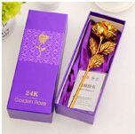 Mothers Day Genuine 24K Gold Dipped Long Stem Rose 10inch Flower Decor Gift with Box girlfriend wife birthday is valentine's day
