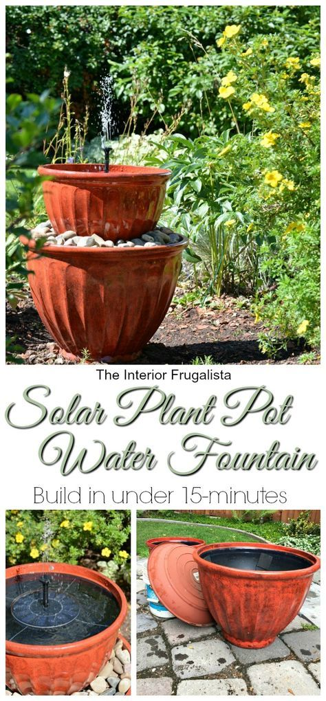 Looking for a simple DIY Water Feature for your yard? Here I'm showing you how to repurpose plant pots into a solar water fountain in less than 15 minutes. | The Interior Frugalista