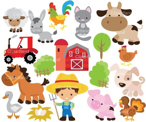 On Sale Instant Download Farm Animals Clip Art Cf 68 Farm Personal And Commercial Use Animal Clipart Farm Animals Barnyard Animals
